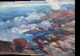 Crashing Waves on Rocks, Paintings, Impressionism, Seascape, Oil, By Richard John Nowak