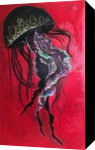 Dance black jellyfish, Decorative Arts, Fine Art,Modernism, Animals, Canvas, By olga zelinska