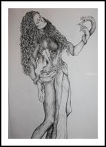 Eva, Decorative Arts,Drawings / Sketch,Folk Art,Illustration,Tattoo, Expressionism,Realism,Romanticism,Surrealism,Symbolism, Anatomy,Composition,Conceptual,Erotic,Fantasy,Religious, Ink, By Misia Slemp