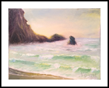 Evening on the beach, Paintings, Fine Art,Impressionism, Landscape,Nature,Seascape, Oil,Wood, By Angela Suto