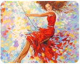 Girl on the swing, Paintings, Impressionism, Children,People, Canvas,Oil,Painting, By Olha   Vyacheslavovna Darchuk