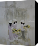Go to Church, Paintings, Fine Art,Realism,Romanticism, Decorative,Landscape,People, Canvas,Oil, By Ninh NguyenVu