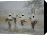 Go to flower market, Paintings, Fine Art,Realism,Romanticism, Decorative,Landscape,People, Canvas,Oil, By Ninh NguyenVu