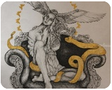 Golden Snake, Architecture,Decorative Arts,Drawings / Sketch,Folk Art,Illustration,Tattoo, Commercial Design,Existentialism,Expressionism,Modernism,Pop Art,Realism,Romanticism,Surrealism,Symbolism, Anatomy,Animals,Composition,Conceptual,Daily Life,Dance,Decorative,Erotic,Fantasy,Floral,Furniture,Grotesque,Spiritual, Acrylic,Ink, By Misia Slemp