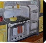 Her Kitchen, Paintings, Expressionism, Still Life, Canvas,Oil,Painting, By Paul Cox