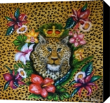 Leopard, Paintings, Expressionism, Animals,Botanical,Floral, Canvas,Oil, By Helen - Bellart