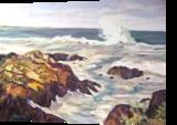 Maine Rocks and Waves, Paintings, Realism, Seascape, Oil, By Richard John Nowak