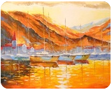 Marina Bay, Paintings, Impressionism, Landscape,Nature, Canvas,Oil,Painting, By Olha   Vyacheslavovna Darchuk
