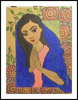 Namaste, Paintings, Impressionism, People, Acrylic,Canvas,Ink, By Rita B Bustamante