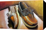 Pair of leather shoes, Paintings, Photorealism,Realism, 3-D, Oil,Painting, By Julian Arsenie