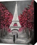 Parisian Dream, Paintings, Impressionism,Surrealism, Architecture,Cityscape, Canvas,Oil, By Runa Bakshi