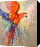 Parrot in flight, Paintings, Fine Art,Impressionism, Animals,Nature, Canvas,Oil,Painting, By Olha   Vyacheslavovna Darchuk