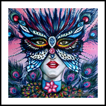 Peacock mask, Paintings, Expressionism, Animals,Figurative, Canvas,Oil, By Helen - Bellart