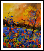 Poppies 675140, Paintings, Expressionism, Botanical, Canvas, By Pol Henry Ledent