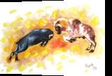 RAM FIGHTING?, Decorative Arts, Realism, Animals, Canvas, By RAGUNATH VENKATRAMAN