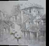 Rain on the old town, Paintings, Fine Art,Romanticism, Architecture,Decorative,Landscape,People, Canvas,Oil, By Ninh NguyenVu