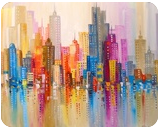 Rainbow city, Paintings, Abstract,Impressionism, Architecture,Cityscape,Fantasy, Canvas,Oil,Painting, By Olha   Vyacheslavovna Darchuk