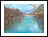 Reflections on Bohinj lake, Paintings, Fine Art,Impressionism, Landscape,Nature, Oil,Wood, By Angela Suto