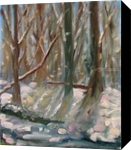 Spring Snow, Paintings, Impressionism, Landscape,Nature, Canvas,Oil, By Runa Bakshi