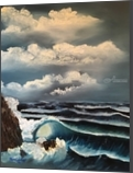 Stormy Evening Seas, Paintings, Impressionism, Nature,Seascape,Tropical, Canvas,Oil,Painting, By Pamela D Cauley