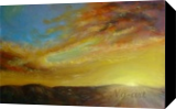 Sunset over the hills, Paintings, Fine Art,Impressionism, Landscape,Nature, Oil,Wood, By Angela Suto