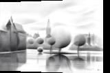 The Court's Pond (De Hofvijver) - 07-04-17, Drawings / Sketch, Abstract,Cubism,Fine Art,Realism, Cityscape,Composition,Historical,Landscape,Nature, Pencil, By Corne Akkers