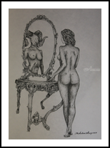 The Mirror, Decorative Arts,Drawings / Sketch,Folk Art,Graphic,Illustration,Paper Art,Tattoo, Chance,Commercial Design,Existentialism,Fine Art,Impressionism,Modernism,Performance Art,Pop Art,Realism,Romanticism,Surrealism,Symbolism, Anatomy,Composition,Decorative,Erotic,Fantasy,Furniture,Grotesque,Humor,Inspirational,Mirrors,Mythical,Nudes,People,Performance Art,Spiritual,Window on the World, Ink, By Misia Slemp