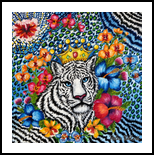 Tiger, Paintings, Expressionism,Fine Art,Modernism, Animals,Floral, Canvas,Oil, By Helen - Bellart