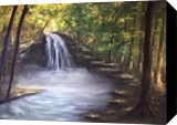 Waterfall, Paintings, Fine Art,Impressionism, Landscape,Nature, Oil,Wood, By Angela Suto