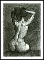 A 2nd tribute to Bettie Page - 13-08-14, Drawings / Sketch, Abstract,Cubism,Fine Art,Impressionism,Realism, Anatomy,Composition,Erotic,Figurative,Inspirational,Nudes,People, Pencil, By Corne Akkers