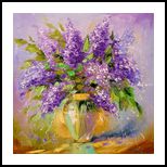 A bouquet of lilacs, Paintings, Impressionism, Floral,Nature, Canvas,Oil,Painting, By Olha   Vyacheslavovna Darchuk