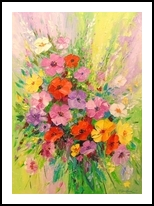 A bouquet of wild flowers, Paintings, Fine Art,Impressionism, Floral,Still Life, Canvas,Oil,Painting, By Olha   Vyacheslavovna Darchuk