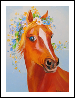 A horse, Paintings, Fine Art,Impressionism, Animals, Canvas,Oil,Painting, By Olha   Vyacheslavovna Darchuk