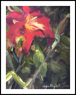 A Lily Among Zinnias, Paintings, Impressionism, Botanical, Oil, By Susan Elizabeth Jones