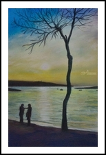 A Meeting at Sunset, Pastel, Fine Art,Impressionism,Realism, Figurative,Seascape, Painting,Pastel, By Matthew David Evans