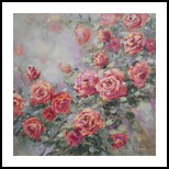 A pieceof June, original painting of blooming roses, Paintings, Fine Art,Impressionism,Realism, Floral,Nature, Acrylic, By Emilia Milcheva