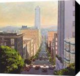 A Street of San Francisco, Paintings, Impressionism, Cityscape, Oil,Wood, By Mason Mansung Kang