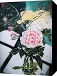 A VASE AND ROSES, Paintings, Fine Art, Modernism, Floral, Still Life, Canvas, By HSIN LIN