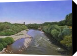 A View from the Old Bridge in Summer, Paintings, Fine Art,Photorealism,Realism, Landscape,Nature, Canvas,Oil, By Dejan Trajkovic