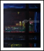 A view of the Smolenka  river and Moscov-Sity (Moscow International Business Center), Paintings, Abstract,Expressionism,Fine Art,Modernism, Architecture,Cityscape,Daily Life, Acrylic,Wood, By Kate Mikhatova