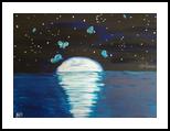 """ACRYLIC PAINTING GIFT IDEA MODERN ART MOON PATH 10""""*14"""", Paintings, Expressionism,Impressionism, Animals,Botanical,Landscape, Acrylic,Canvas, By Nataliia Plakhotnyk"""