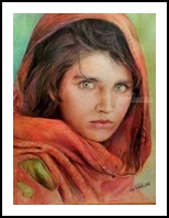Afghan Girl, Paintings, Fine Art,Realism, Figurative,Portrait, Mixed, By Luz Celeste Figueroa