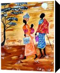 Struggle of an African family, Paintings, Fine Art,Realism, Figurative, Acrylic, By Smita Biswas