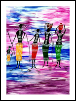 African Tribal, Paintings, Abstract, Multicultural / Ethnic, Acrylic, By Smita Biswas