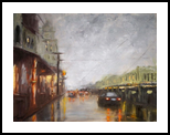 After heavy rain, Paintings, Fine Art,Impressionism, Cityscape, Oil,Wood, By Angela Suto