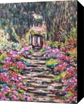 After Monet- Garden Path, Paintings, Impressionism, Floral, Oil,Painting, By Richard John Nowak