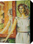 annunciation, Paintings, Expressionism,Fine Art,Symbolism, Composition,Figurative,Historical,Mythical,Narrative,People,Portrait,Spiritual, Oil,Wood, By Kate Mikhatova