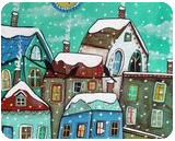 Another Snow Day 1, Folk Art, Fine Art, Cityscape, Acrylic, By KARLA A GERARD