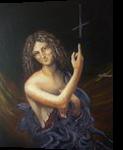 Antichrist (acrylic on cardboard), Paintings, Fine Art, Fantasy, Acrylic, By Victoria Trok