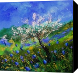 Apple tree in blossom, Paintings, Impressionism, Landscape,Nature, Canvas, By Pol Henry Ledent